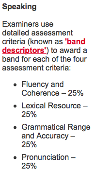 IELTS Speaking assesment criteria