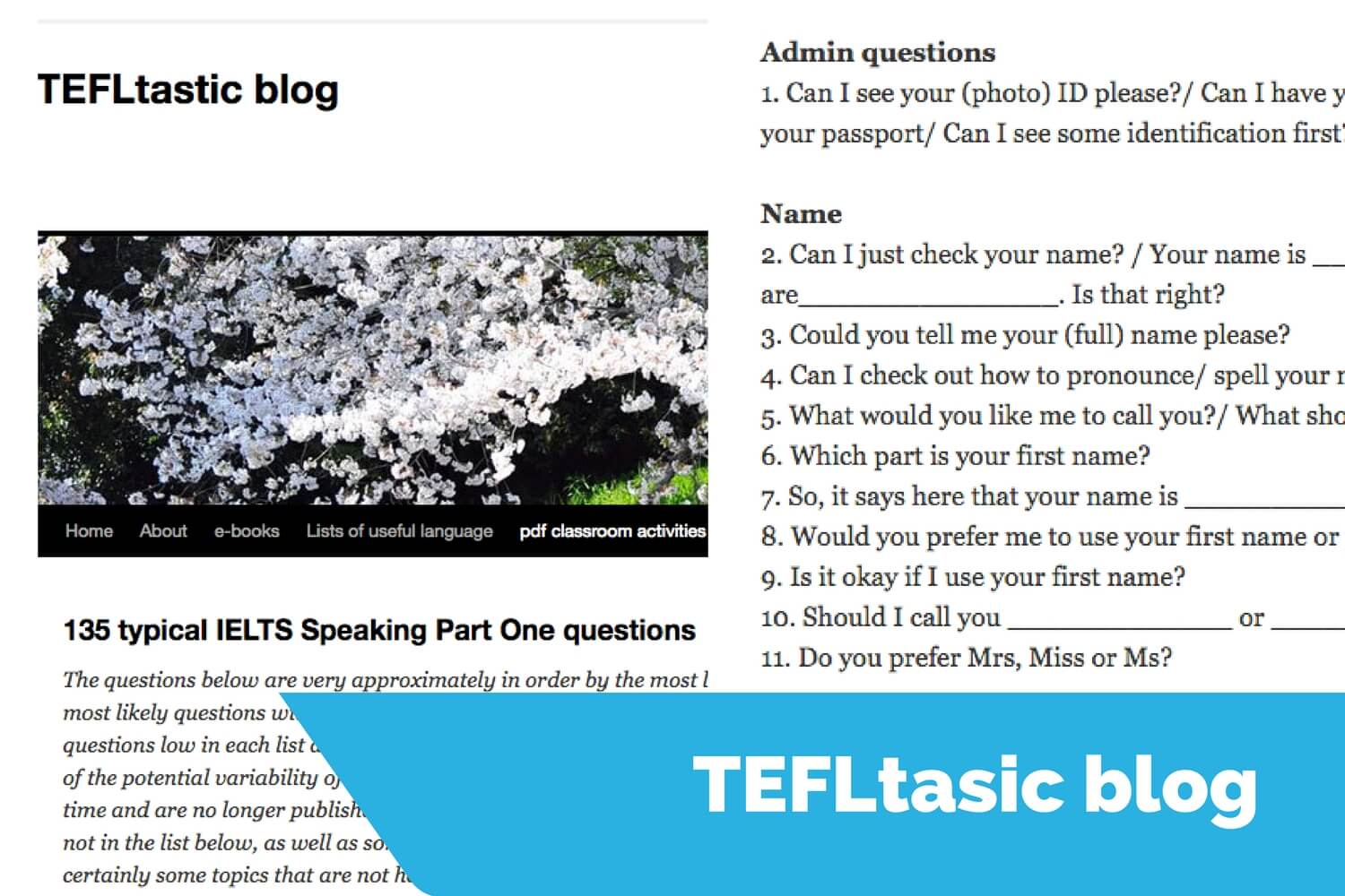 tefltastic speaking sample questions